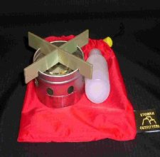 Etowah II stove with fuel bottle and stuff bag.